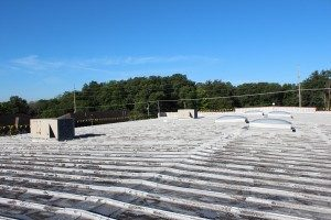 metal-roof-before-retrofit-installation-danville-il-cross-roads-christian-church