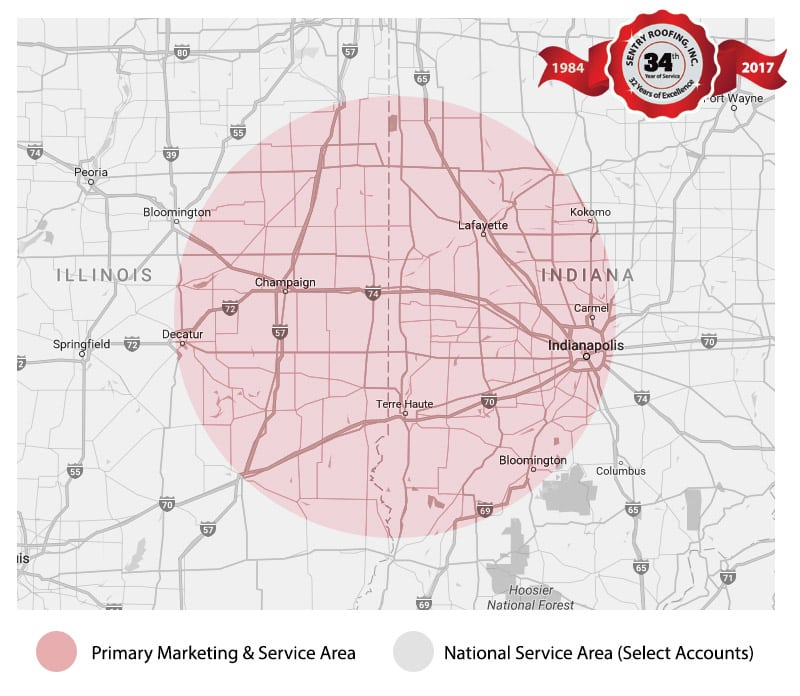 Sentry Roofing - Commercial Roofing Service Area - Indiana & Illinois