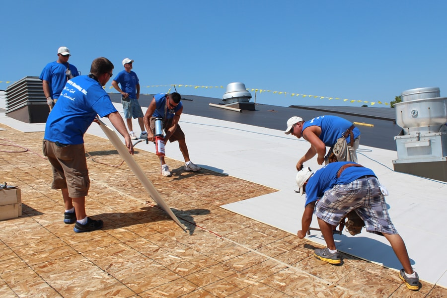 Commercial Roofing Installation Crew