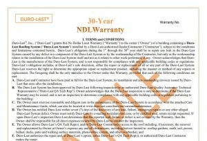 Duro-Last 30 Year Warranty Sample