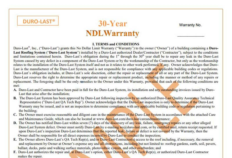 Duro Last 30 Year Roof Warranty Sample