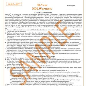 Roofing Warranty Sample